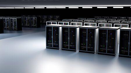 Server racks in server room cloud data center. Datacenter hardware cluster. Backup, hosting, mainframe, farm and computer rack with storage information. 3D rendering. 3D illustration Banco de Imagens - 148874931
