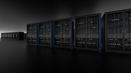 Server racks in server room cloud data center. Datacenter hardware cluster. Backup, hosting, mainframe, farm and computer rack with storage information. 3D rendering. 3D illustration Banco de Imagens - 148874936