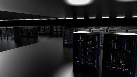 Server racks in server room cloud data center. Datacenter hardware cluster. Backup, hosting, mainframe, farm and computer rack with storage information. 3D rendering. 3D illustration Banco de Imagens - 148874938