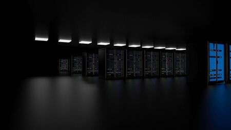 Server racks in server room cloud data center. Datacenter hardware cluster. Backup, hosting, mainframe, farm and computer rack with storage information. 3D rendering. 3D illustration Banco de Imagens - 148874940