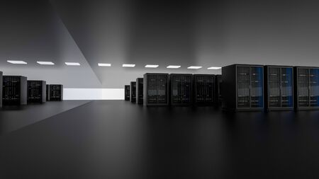 Server racks in server room cloud data center. Datacenter hardware cluster. Backup, hosting, mainframe, farm and computer rack with storage information. 3D rendering. 3D illustration Banco de Imagens - 148874942