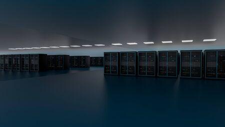 Server racks in server room cloud data center. Datacenter hardware cluster. Backup, hosting, mainframe, farm and computer rack with storage information. 3D rendering. 3D illustration Banco de Imagens - 148874946