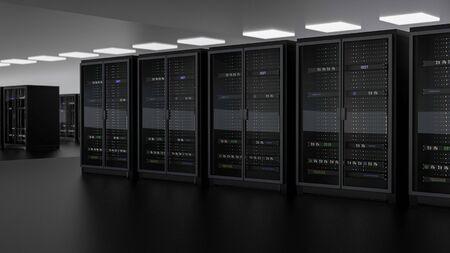 Server racks in server room cloud data center. Datacenter hardware cluster. Backup, hosting, mainframe, farm and computer rack with storage information. 3D rendering. 3D illustration Banco de Imagens - 148874958