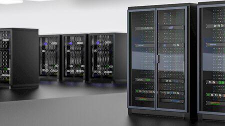 Server racks in server room cloud data center. Datacenter hardware cluster. Backup, hosting, mainframe, farm and computer rack with storage information. 3D rendering. 3D illustration Banco de Imagens - 148874959