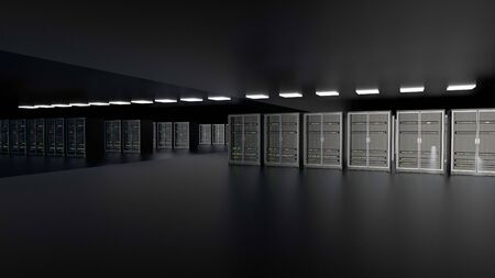 Server racks in server room cloud data center. Datacenter hardware cluster. Backup, hosting, mainframe, farm and computer rack with storage information. 3D rendering. 3D illustration Banco de Imagens - 148874960