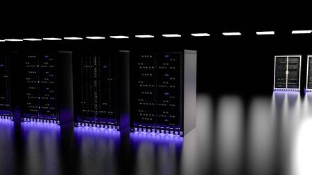Server racks in server room cloud data center. Datacenter hardware cluster. Backup, hosting, mainframe, mining, farm and computer rack with storage information. 3D rendering. 3D illustration Banco de Imagens - 148874963
