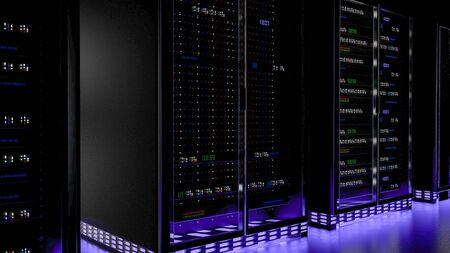 Server racks in server room cloud data center. Datacenter hardware cluster. Backup, hosting, mainframe, mining, farm and computer rack with storage information. 3D rendering. 3D illustration Banco de Imagens - 148874965