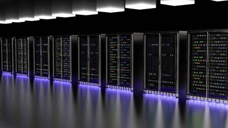 Server racks in server room cloud data center. Datacenter hardware cluster. Backup, hosting, mainframe, mining, farm and computer rack with storage information. 3D rendering. 3D illustration Banco de Imagens - 148874966