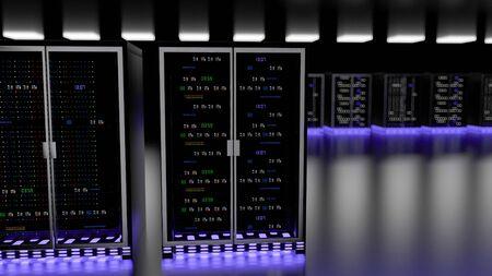 Server racks in server room cloud data center. Datacenter hardware cluster. Backup, hosting, mainframe, mining, farm and computer rack with storage information. 3D rendering. 3D illustration Banco de Imagens - 148874968