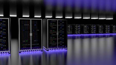Server racks in server room cloud data center. Datacenter hardware cluster. Backup, hosting, mainframe, mining, farm and computer rack with storage information. 3D rendering. 3D illustration Banco de Imagens - 148874969