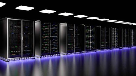 Server racks in server room cloud data center. Datacenter hardware cluster. Backup, hosting, mainframe, mining, farm and computer rack with storage information. 3D rendering. 3D illustration Banco de Imagens - 148874970