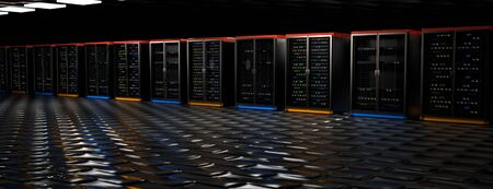 Server racks in server room cloud data center. Datacenter hardware cluster. Backup, hosting, mainframe, mining, farm and computer rack with storage information. 3D rendering. 3D illustration Banco de Imagens - 148874971