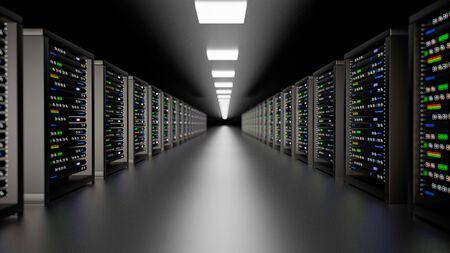 Server racks in server room cloud data center. Datacenter hardware cluster. Backup, hosting, mainframe, mining, farm and computer rack with storage information. 3D rendering. 3D illustration Banco de Imagens - 148874976