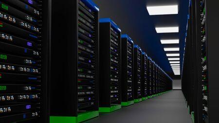 Server racks in server room cloud data center. Datacenter hardware cluster. Backup, hosting, mainframe, mining, farm and computer rack with storage information. 3D rendering. 3D illustration Banco de Imagens - 149370242