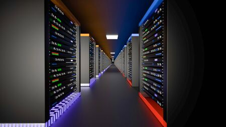 Server racks in server room cloud data center. Datacenter hardware cluster. Backup, hosting, mainframe, mining, farm and computer rack with storage information. 3D rendering. 3D illustration Banco de Imagens - 149745114