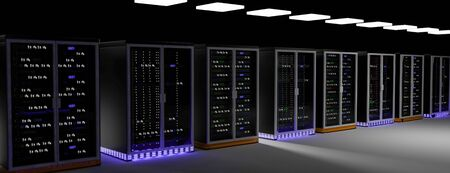 Server racks in server room cloud data center. Datacenter hardware cluster. Backup, hosting, mainframe, mining, farm and computer rack with storage information. 3D rendering. 3D illustration Banco de Imagens - 149745117