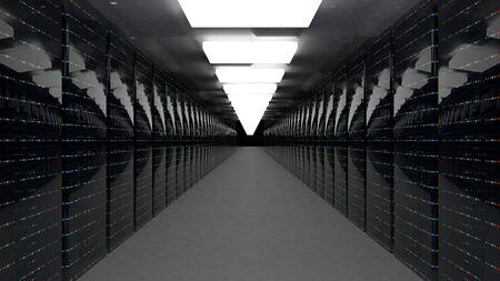 Servers. Server racks in server cloud data center. Datacenter hardware cluster. Backup, hosting, mainframe, farm and computer rack with storage information. 3D rendering. 3D illustration Banque d'images