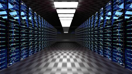 Servers. Server racks in server cloud data center. Datacenter hardware cluster. Backup, hosting, mainframe, farm and computer rack with storage information. 3D rendering. 3D illustration Banco de Imagens - 149922875