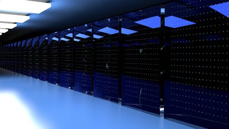 Servers. Server racks in server cloud data center. Datacenter hardware cluster. Backup, hosting, mainframe, farm and computer rack with storage information. 3D rendering. 3D illustration Banco de Imagens - 149746513