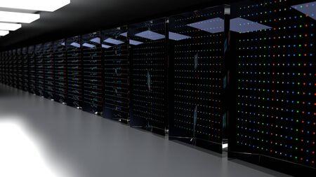 Servers. Server racks in server cloud data center. Datacenter hardware cluster. Backup, hosting, mainframe, farm and computer rack with storage information. 3D rendering. 3D illustration Banco de Imagens - 149745506