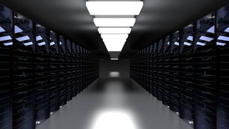 Servers. Server racks in server cloud data center. Datacenter hardware cluster. Backup, hosting, mainframe, farm and computer rack with storage information. 3D rendering. 3D illustration Banco de Imagens - 149748623