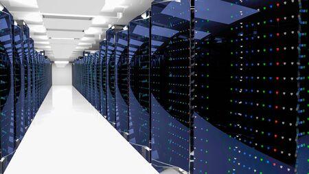 Server racks in server room cloud data center. Datacenter hardware cluster. Backup, hosting, mainframe, mining, farm and computer rack with storage information. 3D rendering. 3D illustration Banco de Imagens - 150284377