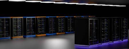 Server racks in server room cloud data center. Datacenter hardware cluster. Backup, hosting, mainframe, mining, farm and computer rack with storage information. 3D rendering. 3D illustration Banco de Imagens - 150348818