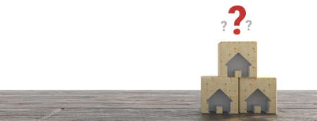 Wood House Model with question marks over the wooden desk and free copy space for your text. 3d illustration