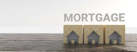 Mortgage concept. Wooden house model with text mortgage. 3d illustration