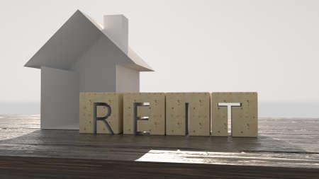Concept image of Business Acronym REIT as Real Estate Investment Trust. 3d illustration Archivio Fotografico