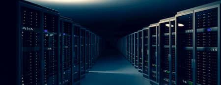 Server racks in server room cloud data center. Datacenter hardware cluster. Backup, hosting, mainframe, mining, farm and computer rack with storage information. 3D rendering. 3D illustration