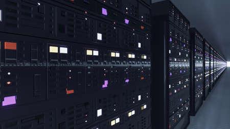 Server racks in server room cloud data center. Datacenter hardware cluster. Backup, hosting, mainframe, mining, farm and computer rack with storage information. 3D rendering. 3D illustration Stockfoto