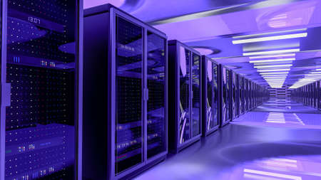 Server room data center. Backup, mining, hosting, mainframe, farm and computer rack with storage information. 3d render