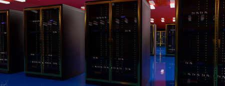 Servers racks in server room cloud data center.