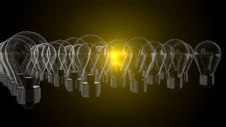 Light bulbs with shining fibres in shapes of IDEA concept related words on black background. 3d rendering