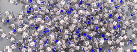 Many disposable vials on the table of Covid-19 coronavirus vaccine. Medicine infectious concept. 3d rendering Banco de Imagens