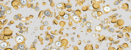 3d render abstract background made of clocks on white Banco de Imagens