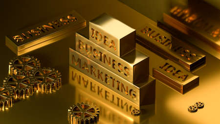 Business concept: words of metal letter-press type and gears. 3d rendering