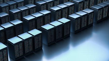 Server. Server room data center. Backup, mining, hosting, mainframe, farm and computer rack with storage information. 3d render
