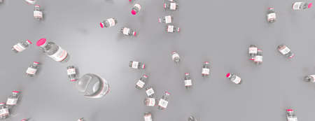 Vaccine. Many disposable vials on the table of Covid-19 coronavirus vaccine. Medicine infectious concept. 3d rendering