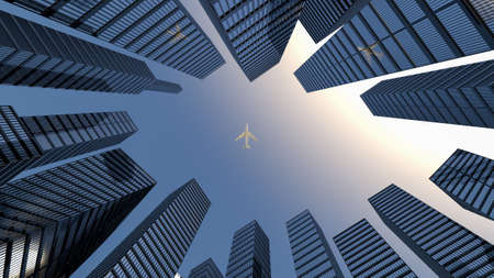 Air transportation concept. Perspective view to steel light blue of glass high rise building skyscraper city of future and airplane. Business and travel concept. 3d rendering. 3d illustration Banco de Imagens