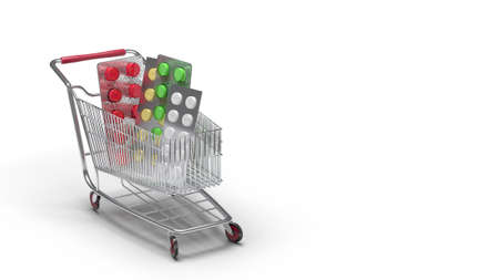Buy and shopping medicine concept. Various capsules, tablets and medicine in shop trolley on a white background. Copy space. 3d illustration