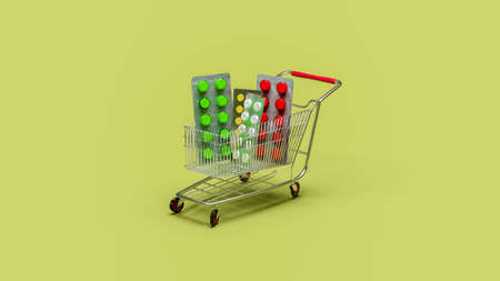 Buy and shopping medicine concept. Various capsules, tablets and medicine in shop trolley on a yellow background. Copy space. 3d illustration