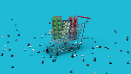 Buy and shopping medicine concept. Various capsules, tablets and medicine in shop trolley on a blue background. Copy space. 3d illustration