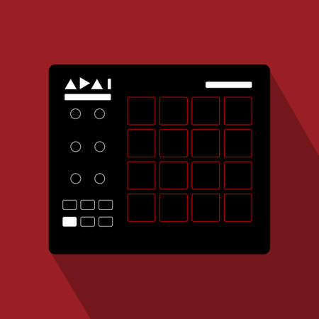 Synthesizer flat square icon with long shadows.