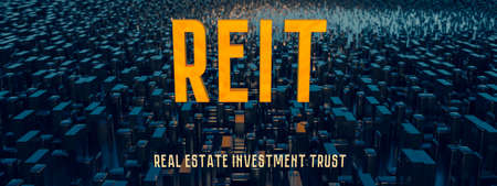 Concept image of Business Acronym REIT as Real Estate Investment Trust. 3d rendering