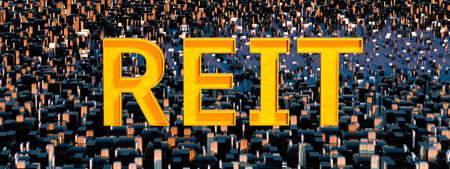 REIT. Concept image of Business Acronym REIT as Real Estate Investment Trust. 3d rendering Banco de Imagens