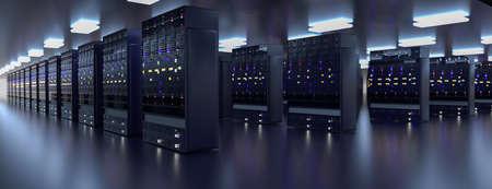 Server. Servers room data center. Backup, mining, hosting, mainframe, farm and computer rack with storage information. 3d render