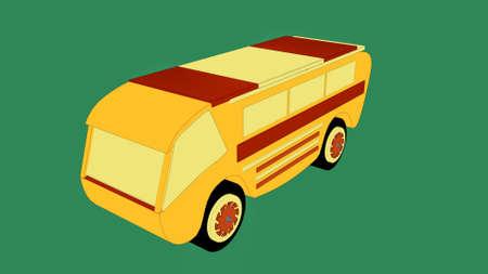 Cartoon yellow hi tech school bus. Autobus. 3d rendering