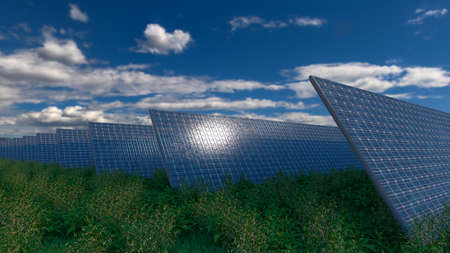 Solar panel background of photovoltaic modules for renewable energy. Clouds and blue sky in mirror. Alternative electricity source. 3d rendering. 3d illustration Banco de Imagens